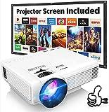 Proyector HI-04 con Pantalla de Proyección, Proyector Video 6000 Lúmenes Soporta 1080P Full HD, Mini Proyector Compatible con TV Stick HDMI VGA USB TF AV, para Cine en Casa y Películas al Aire Libre.