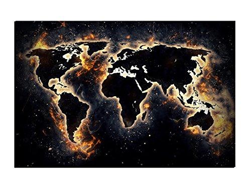 WallartXXL Alu-Dibond Wandbild World ON FIRE Weltkarte Globus AB-837 Butlerfinish® 120 x 80 cm, Wandbild Edel gebürstete Aluminium-Verbundplatte, Metall Effekt Eyecatcher!