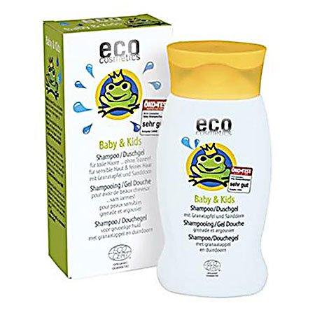 eco cosmetics ECO Baby & Kids Schampoo und Duschgel 2 in 1, Naturkosmetik schonendes Bio Duschgel und Bio-Schampoo, reinigt und pflegt die Kopfhaut von Kindern und Babys,1 x 200ml