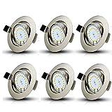 Set 6 x Dimmbar GU10 LED Einbaustrahler 5W Schwenkbar LED Einbauleuchte Warmweiss Deckenspot 230V Led Deckenstrahler (Mit Leuchtmittel)
