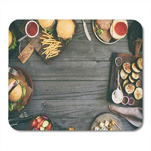 Alfombrilla de ratón Semtomn de varias hamburguesas de alimentos Ensalada Roquefort Queso...