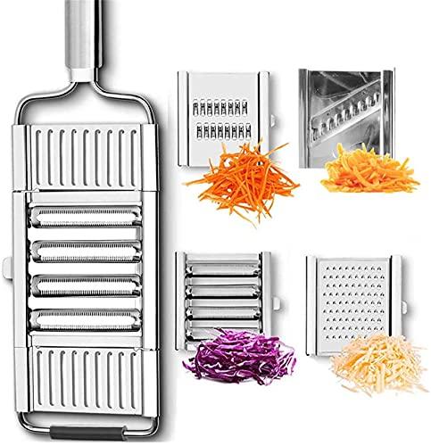 Cortadora de verduras Slice & Go, cortadora de verduras multiusos, acero inoxidable, cortadora y picadora de verduras, rallador de queso, rallador de patatas, pelador, herramienta de cocina ajustable