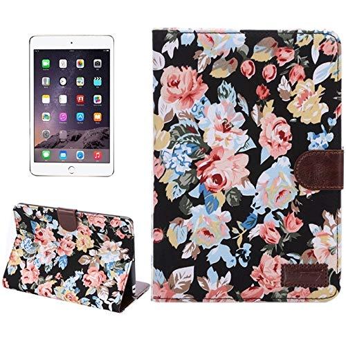 Fulvit Funda de Cuero de Textura de Mezclilla de patrón de peonía con Ranuras y Soporte para Tarjetas y función de sueño para iPad Mini 3 / Mini 2 Retina (Blanco) (Color : Black)