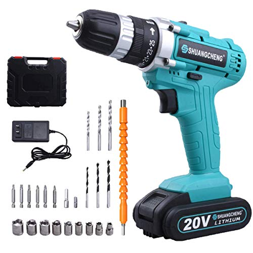 Cordless Drill Driver, 24 Piece Accessories, 25+1 Torque Setting, 20v MAX Lithium-Ion Drill/Drive 2 Speed Electric Drill with LED Work light Power Drill
