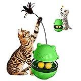 Amelia Jouet Chat avec Balle et Plume, Distributeur Croquette Chat, Tumbler Jouet, Jouets pour Chat 4 en 1(Vert)