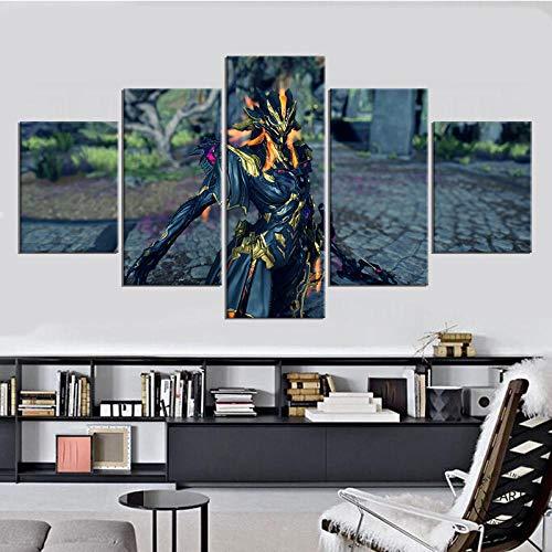 SINGLEAART Impresión De Lienzo 5 Paneles Cuadros,5 Piezas Pintura,Sala Estar Decoración,Modular Póster,Mural Abstracto,Regalo Cumpleaños,Escena del Juego Ivara (Warframe),100Cm×50Cm,con Marco
