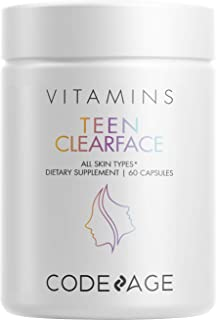 Teen Clearface Adolescent Face, Skin & Pimples, Vitamins A, C, D3, E, Pantothenic Acid, Niacin, Zinc Supplement for Teenag...