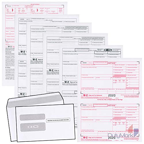 W2 Forms 2020, 6 Part Tax Forms, 25 Employee Kit of Laser Forms and Self-Seal Envelopes, Designed for QuickBooks and Accounting Software, 2020 W-2