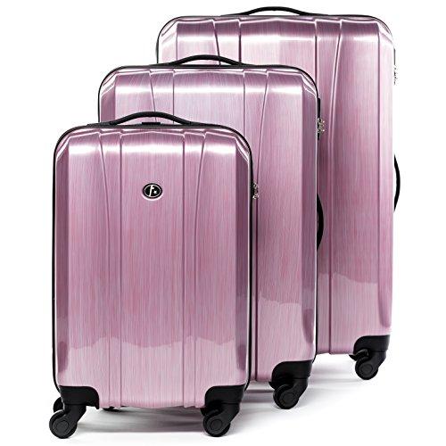FERGÉ Kofferset Hartschale 3-teilig Dijon Trolley-Set - Handgepäck 55 cm L XL - 3er Hartschalenkoffer Roll-Koffer 4 Rollen 100% ABS & PC pink