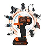 BLACK+DECKER MT218KB-QW Perceuse visseuse Multievo - Outil multifonctions sans fil - Chargeur inclus - Double embout de vissage - Livrée en coffret 850W, 18V, Orange/Noir, 2 Batteries