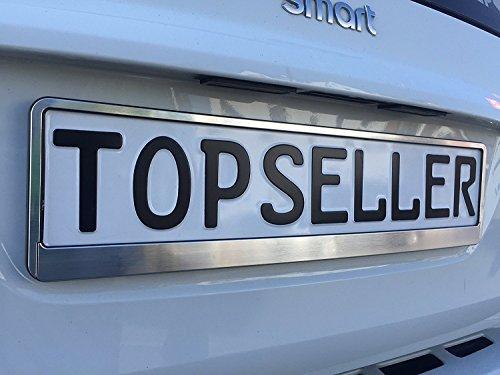 2 x gebürstet Nummernschildhalter Chrom gebürstet Autozubehör Auto (Chrom) Silber
