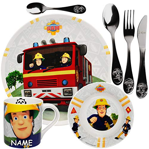 alles-meine.de GmbH 7 TLG. Geschirrset - Feuerwehrmann Sam - inkl. Name - Geschirr aus Porzellan / Keramik + Edelstahl Besteck - Messer Gabel Löffel - Trinkbecher + Teller + Müsl..