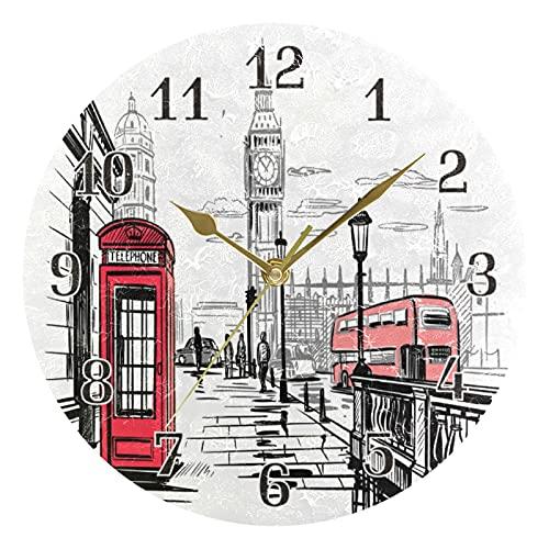 KKAYHA London City - Reloj de pared (25 cm, funciona con pilas, silencioso), diseño de ciudad de Londres