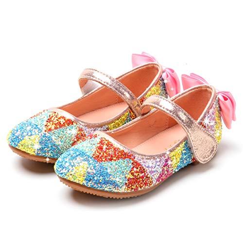 YOSICIL Mädchen ELSA Schuhe Prinzessin Schuhe Regenbogen Schuhe Kinder Ballerinas Schuhe Eiskönigin Bunte Schuhe Tanzball Tanzschuhe Weihnachten Party Schuhe Karneval Fasching Festliche Schuhe