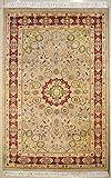 etnico Alfombra de doble nudo Ardabil, hecha a mano, 121 cm x 193 cm, diseño simétrico, color beige