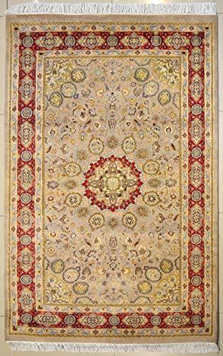 etnico Ardabil Handgefertigter orientalischer Teppich mit doppeltem Knoten, 121 x 193 cm, Beige