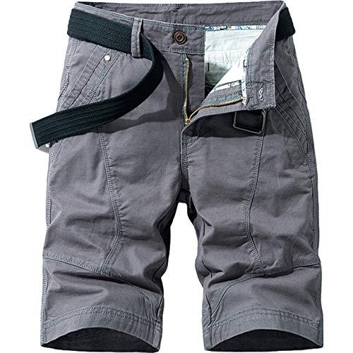 Pantalón de chándal de Moda para Hombre, Trabajo al Aire Libre, Verano, Retro, Color sólido, Fino, Transpirable, Pantalones Cortos Casuales, Pantalones Cargo, con Bolsillo 36