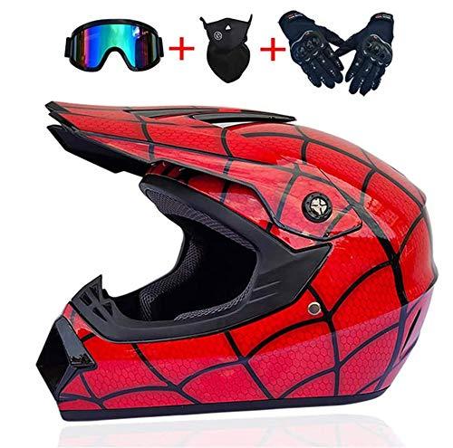 Helmet LWAJ Youth Kids Offroad Gear Combo con Gafas máscara Guantes, Guapo Little Spider ATV Casco de Motocicleta SUV Dirt Bike Casco Bicicleta de montaña Regalo para niño Casco de Motocross