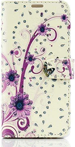 FoneJacket Funda para Samsung Galaxy A52, tapa, cartera, folio, cuero/gel, flor morada