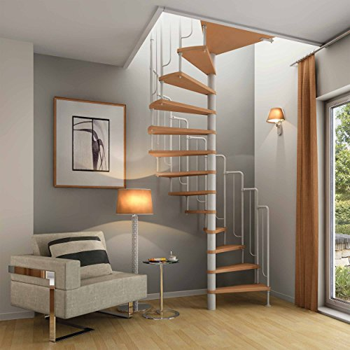 Spindeltreppe Wendeltreppe DOLLE Barcelona, Geschosshöhe: 229-291 cm, Stufen: Buche, Unterkonstruktion: weiß, Durchmesser: 138 cm