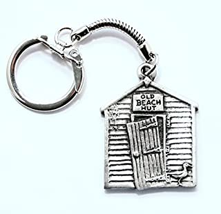 Solid Pewter Old Fashioned Beach Hut Keychain