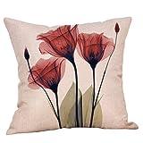 CLOOM Federa, Blooming Lotus Leaf Cuscino Motivo Floreale Home Decorativo Federe Cotone Biancheria Divano Divano Gettare Cuscino(A,1PC)