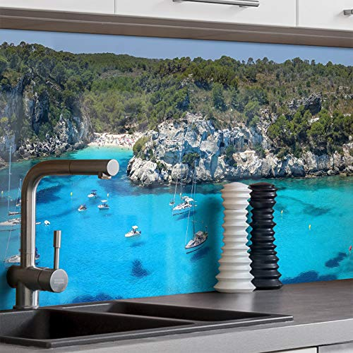 BilderKing Küchenrückwand selbstklebend 400cm x 60cm Mallorca, Menorca Strand A - Spritzschutz für Ihre Küche in Glasoptik, Absolute Deckung und Haftung auf Fliesenspiegel und sonstigen Untergründen
