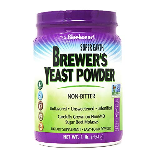 Bluebonnet Nutrition Super Earth Brewers Yeast Powder, Super Food, Whole Food, Source for Vitamins, Great Tasting, Vegan, Vegetarian, Non GMO, Gluten Free, Soy Free, Milk Free, Kosher, 1 lb