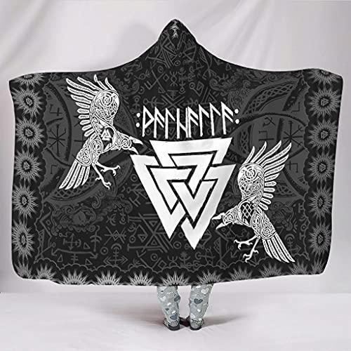 Hothotvery Manta con capucha vikingo Valknut celta Odin con dos cuervos unisex, para la mayoría de las personas, color blanco, 130 x 150 cm