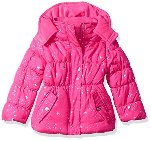 Pink Platinum Toddler Girls' Super Star Foil Puffer, Pink Glow, 3T
