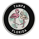 Tampa, Florida Two Flamingos Embroidered Premium Patch DIY Iron-on or Sew-on Decorative Badge Emblem Vacation Souvenir Travel Gear Clothes Appliques