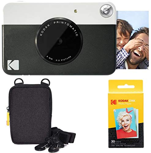 KODAK Printomatic Sofortbildkamera (Schwarz) Basis-Paket + Zinkpapier (20 Blätter) Etui + Bequemer Halsriemen