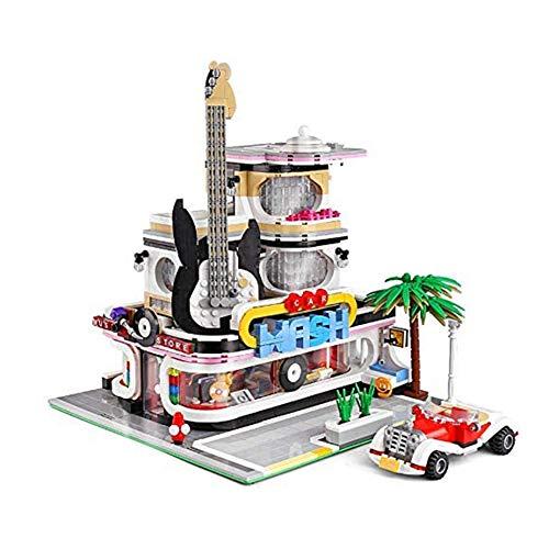 Zhenwo Kit De Casa De Bloques, Juguetes De Construcción Modular Gitarrenhaus, 2100 Bloques De Terminales Y La Iluminación, Modelo Arquitectónico Compatible con Lego City House,A