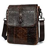 NIUCUNZH Leather Flap Messenger Bag for Men Small Crossbody Shoulder Bag,Novelty Crocodile Embossed Coffee