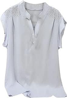 CUCUHAM Women Ladies Hot Drill Ruffles Short Sleeve Blouse Pullover Tops Shirt
