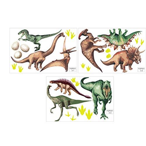 Yusell - Adhesivos Fluorescentes de Dinosaurios (3 Unidades), diseño de Animales