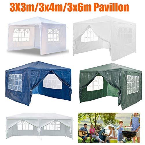 Huini Pavillon Wasserdicht 3x4 m Gartenpavillon mit 4 Seitenwände Polyethylen Bierzelt für Garten Party Hochzeit Picknick Markt - Weiß