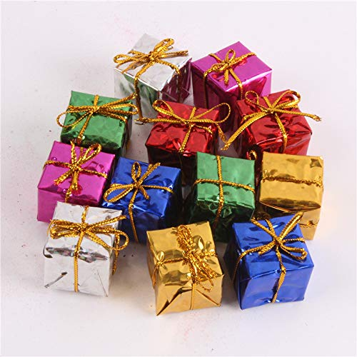 24 Pcs Assorted Color Foil Boxes Handmade Gift Boxes Mini Tree Ornaments Laser Candy Box Christmas Tree Ornaments Pendant Decoration