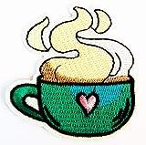 Hot Coffee Cup Cute Cartoon Heart Shape Fantasy 2.5X2.75 in MEGADEE Patch Cartoon Kids Symbol DIY Iron on Patch Iron-On Designer Patch (Glass Fantasy 018)