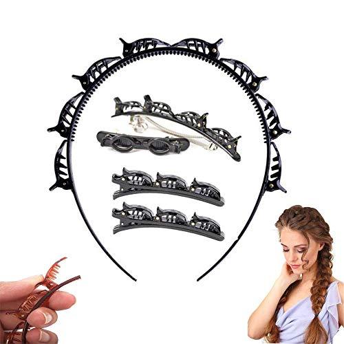 5 Stück Haarbänder mit Clips,Frisurenhilfe Haarreif mit Haarband,Hairstyle Hairpin,Doppelt Layer Bangs Clip,Haarreifen Damen,Pony Braid Stirnband Haar Styling Haarspangen Clips