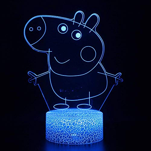 3D Optical Illusion Light-Cute pig-3D Night Light LED for Dimmable Touch Control Brightness Light for Home Decoration Birthday and Holiday Gifts for Children(with USB Cable)-Touch