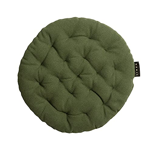 LINUM Pepper Elegante cuscino rotondo per giardino, cucina, Ø 37 cm, 100% cotone, lavabile in lavatrice, verde oliva scuro