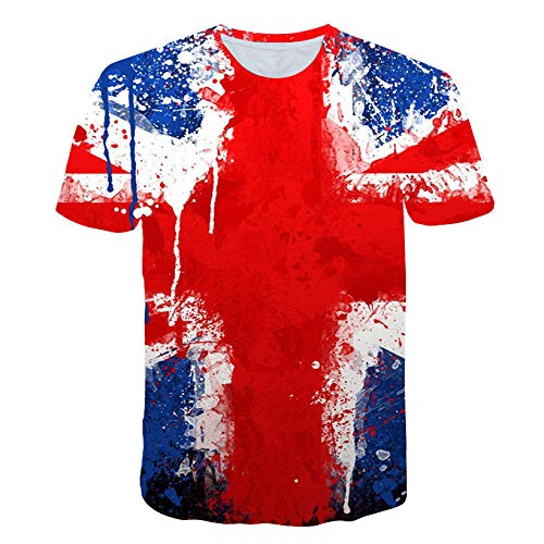 Camiseta, Camiseta de Arce Rojo 3D con Estampado de águila, Camiseta de Verano de Manga Corta para Hombre, Camiseta Casual, Top Informal-XL