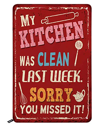 Swono Quotes Tin Signs,My Kitchen was Clean Last Week Sorry You Missed It Red Vintage Metal Tin Sign for Men Women,Wall Decor for Bars,Restaurants,Cafes Pubs,12x8 Inch