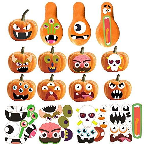 Yongbest Halloween Kürbis Grimasse Aufkleber,12PCS Kürbis-Grimassen-Aufkleber Halloween Kürbis Dekorieren Craft Kit für Kind Party Dekoration