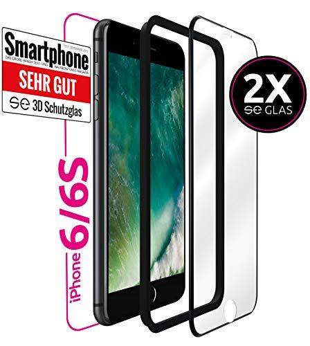 smart engineered [2 Stück 3D Schutzglas kompatibel mit iPhone 6S / 6 | Premium Frame Line Schwarz - volle randlose Abdeckung [absolut passgenauer Rand] mit Schablone Rahmen [3D Touch Echtglas]