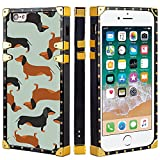 Naikuyi Funda para iPhone 6 Plus (6+) / 6S Plus (6S +) - Funda cuadrada para perro salchicha de perro perro perro de lujo funda de TPU con cuatro esquinas Protección de búfer fuerte pero no pesado
