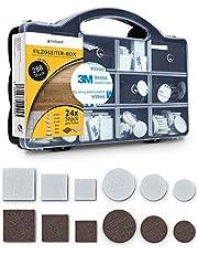 goodspot® Viltglijders zelfklevend met 3M lijm - 288 stuks in praktische doos - rond, hoekig, donkerbruin, wit - meubelglijders met plakfolie stoel viltglijders