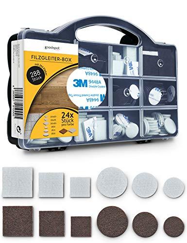 goodspot® Filzgleiter selbstklebend mit 3M Kleber - 288 Stück in praktischer Box - rund, eckig, dunkelbraun, weiß - Möbelgleiter mit Klebefolie Stuhl Filzgleiter