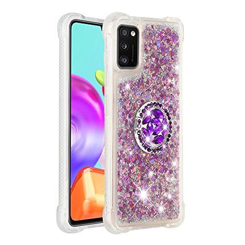 Coque pour Samsung Galaxy A41,Brillante Cristal Diamant Anneau Socle de téléphone Liquide Dégradé Transparente Silicone TPU Étui Antichoc Coques(Rose Rouge)